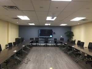 ClearOne Video Conference room System RedBank, NJThe system incorporates video conferencing with ClearOne's Professional series conference room equipment. We have installed two ceiling mounted beam forming microphones, four in-ceiling Yamaha speaker, system amplifier, conferencing control unit and a usb interface for video conferencing. On the wall we mounted an 80″ Sharp Aquos touch screen and a 1080p ptz webcam. The system is compatible with any web conferencing software available on the market.
